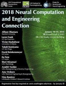 Poster for the 2018 Neural Computation and Engineering Connection (NCEC) at the University of Washington
